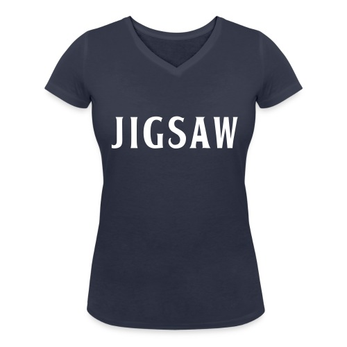 JigSaw On Tour Woman Navi White - Women's Organic V-Neck T-Shirt by Stanley & Stella