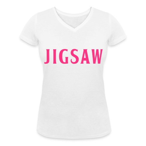 JigSaw On Tour Woman White Fuchsia - Women's Organic V-Neck T-Shirt by Stanley & Stella