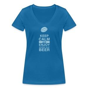 Keep Calm – Enjoy Local Beer (Lady – blue) - Frauen Bio-T-Shirt mit V-Ausschnitt von Stanley & Stella