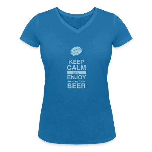 Keep Calm – Enjoy Local Beer (Lady – blue) - Frauen Bio-T-Shirt mit V-Ausschnitt von Stanley & Stella