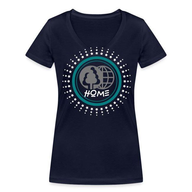 T-shirt col V Bio Femme Planète home sweet home