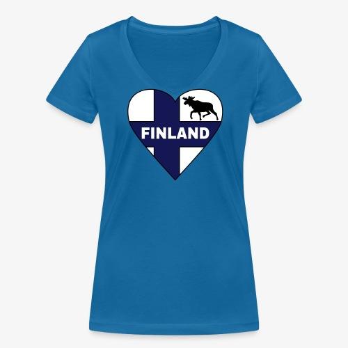 Finnland Flagge Herz T-Shirts - Frauen Bio-T-Shirt mit V-Ausschnitt von Stanley & Stella