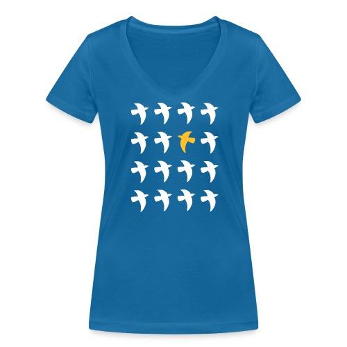 Bio Fair-T-Shirt mit Tauben (V-Ausschnitt) - Frauen Bio-T-Shirt mit V-Ausschnitt von Stanley & Stella