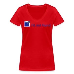 Fit mit Hund® Frauen-V-T-Shirt helle Farben (figurbetont, fällt eine Nummer kleiner aus) - Frauen Bio-T-Shirt mit V-Ausschnitt von Stanley & Stella