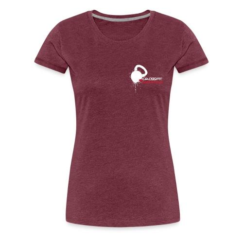 Damen T-Shirt, kleines helles Logo vorn, Crossed Barbells hinten - Frauen Premium T-Shirt