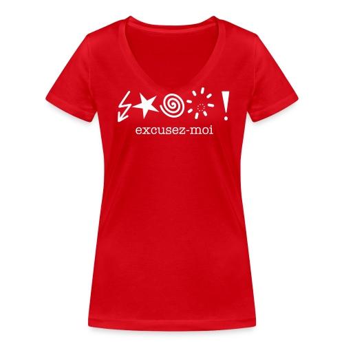T-shirt excusez-moi - Vrouwen bio T-shirt met V-hals van Stanley & Stella
