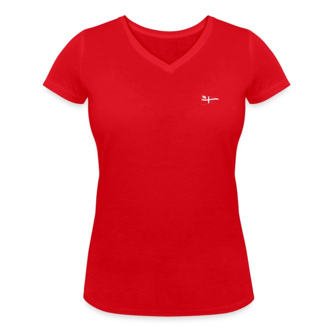 Frauen T-Shirt, V-Ausschnitt, ROYC klein/einfarbig Flock-Druck