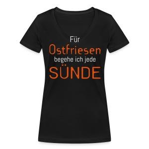Ostfriesensünde-Shirt (Damen) - Frauen Bio-T-Shirt mit V-Ausschnitt von Stanley & Stella
