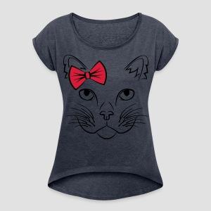 Süße Katze CUTE EDITION - Frauen T-Shirt mit gerollten Ärmeln