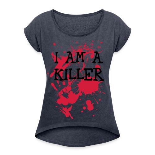 WEIRD COLLECTION © - Vrouwen T-shirt met opgerolde mouwen