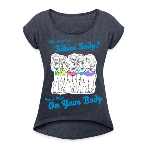 BIKINI BODY Boyfriend Shirt - Frauen T-Shirt mit gerollten Ärmeln
