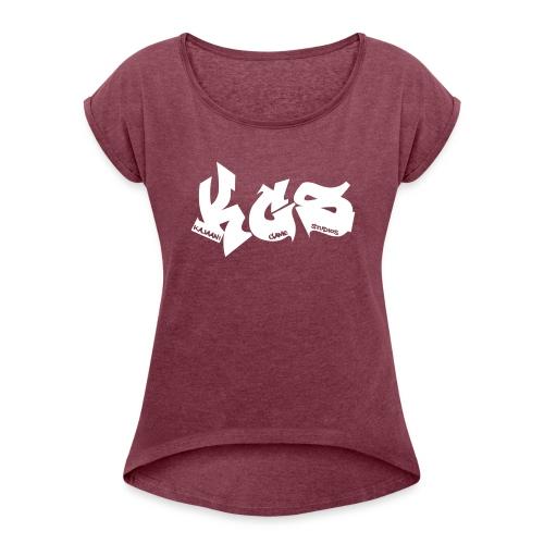 KGS-paita - Naisten T-paita, jossa rullatut hihat