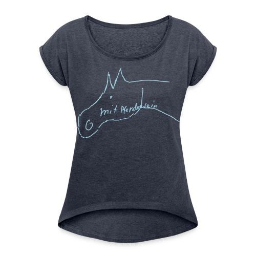 MPS Pferdchen- Boyfriendstyle  : Ladys Summer Shirt (Heavenly Blue Print!) - Frauen T-Shirt mit gerollten Ärmeln