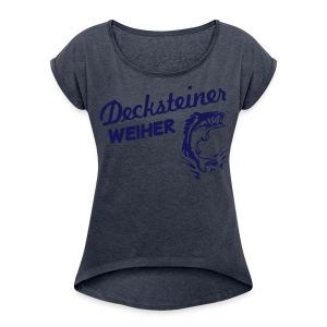 Decksteiner Weiher Girl (blauer Druck) - Frauen T-Shirt mit gerollten Ärmeln