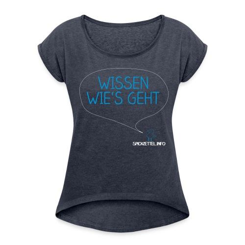 Wissen wie's geht 2farbig - Frauen T-Shirt mit gerollten Ärmeln