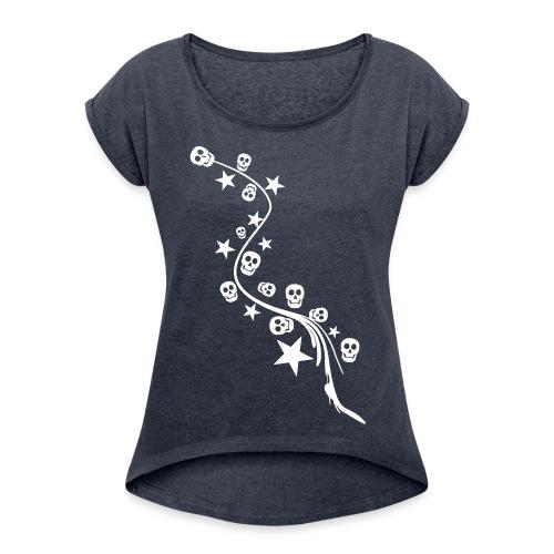 Stars&Skulls - Frauen T-Shirt mit gerollten Ärmeln