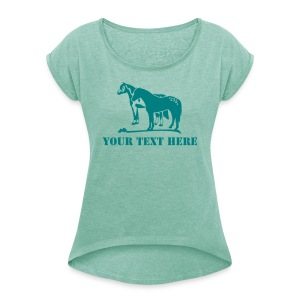 t-shirt western horses + your name - Women's T-shirt with rolled up sleeves