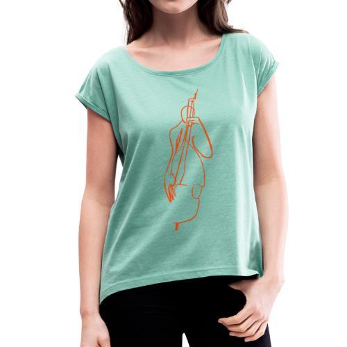 full size bass - Frauen T-Shirt mit gerollten Ärmeln