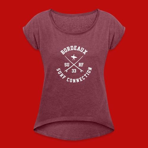 T-shirt Femme - T-shirt à manches retroussées Femme