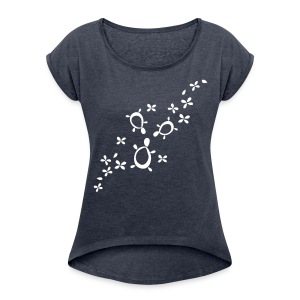 Frühlings Schildis - Frauen T-Shirt mit gerollten Ärmeln
