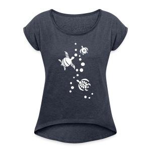 Seaturtle - Frauen T-Shirt mit gerollten Ärmeln