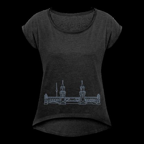 Oberbaumbrücke in Berlin - Frauen T-Shirt mit gerollten Ärmeln