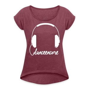 #ShirtHeadphoneFemaleBCA - Frauen T-Shirt mit gerollten Ärmeln