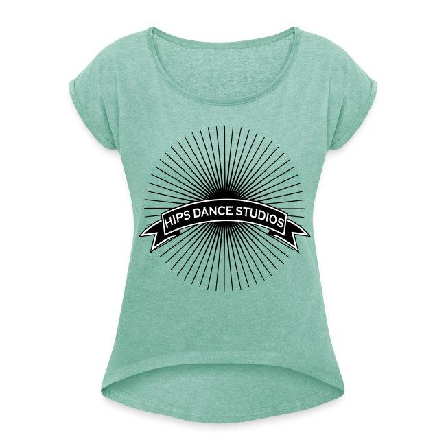 Dame T-shirt med rulleærmer