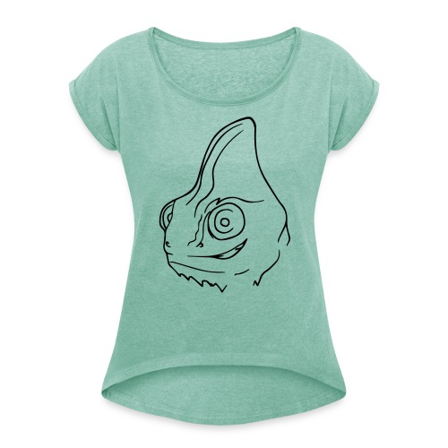 Chamcamouflage T-Shirt Frauen - Frauen T-Shirt mit gerollten Ärmeln