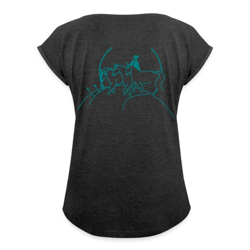 Front: LOGO Schriftzug, Back: Cover - Boyfriend Shirt (Print: Smaragd Green) - Frauen T-Shirt mit gerollten Ärmeln