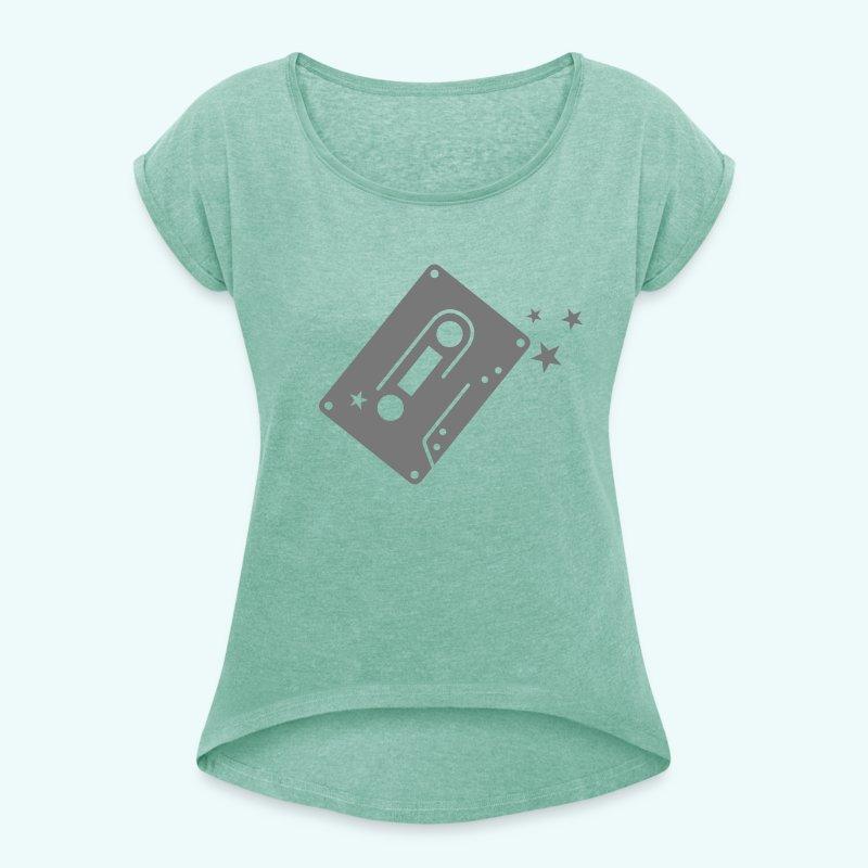 Kassette - Frauen T-Shirt mit gerollten Ärmeln