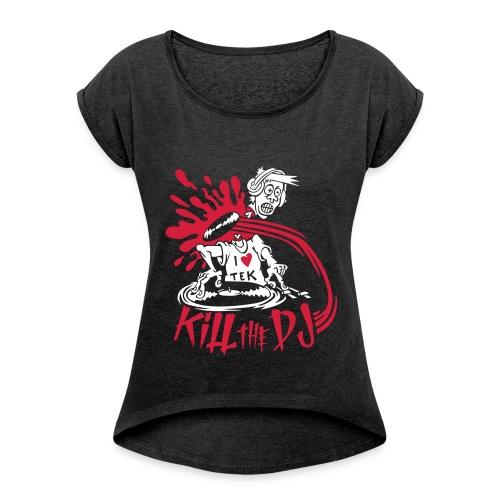 t shirt femme - T-shirt à manches retroussées Femme