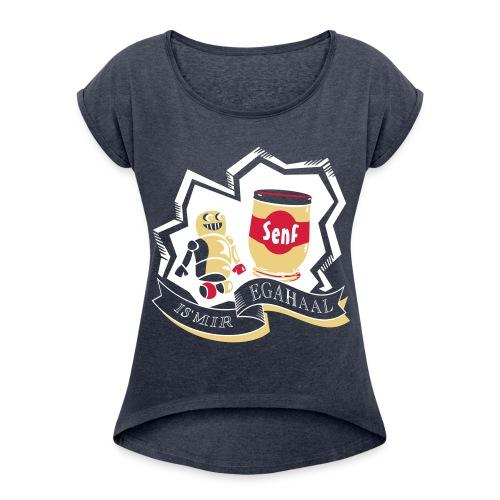 Roboter mit Senf = IS MIR EGAL - Frauen T-Shirt mit gerollten Ärmeln