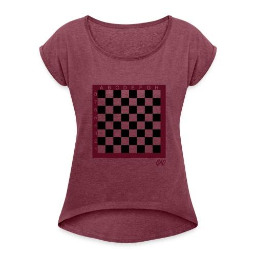 GAO - Check Maid - Shirt Damen Dark Blue - Frauen T-Shirt mit gerollten Ärmeln