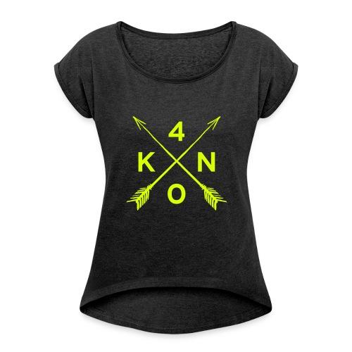 Forty Knots Damen Shirt dunkelgrau meliert mit Neongelb - Frauen T-Shirt mit gerollten Ärmeln