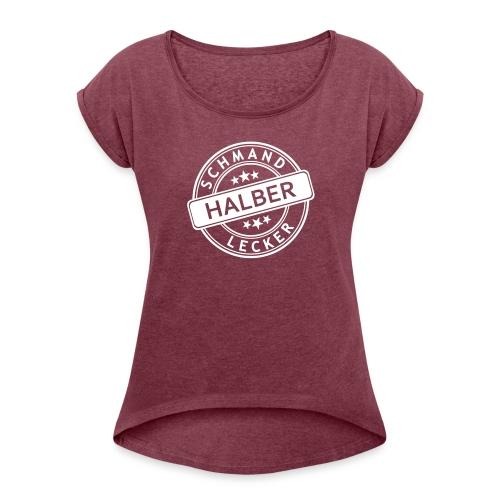 Frauen T-Shirt mit gerollten Ärmeln (Größen: S - L) - Frauen T-Shirt mit gerollten Ärmeln