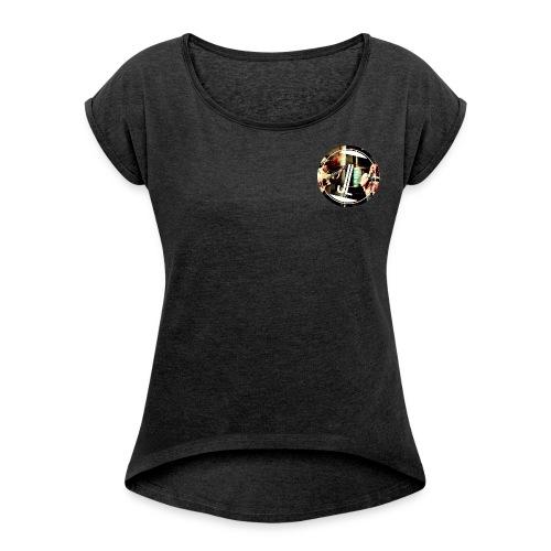 Jasmin.Louis LOGO (smart grey) - Frauen T-Shirt mit gerollten Ärmeln