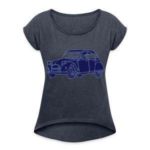 Ente 2CV - Frauen T-Shirt mit gerollten Ärmeln