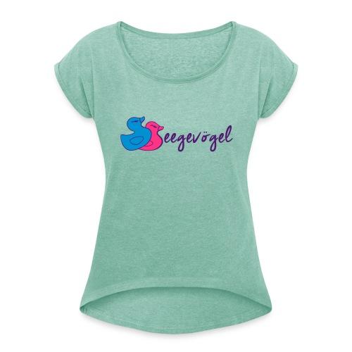 Seegevögel - Frauen T-Shirt mit gerollten Ärmeln