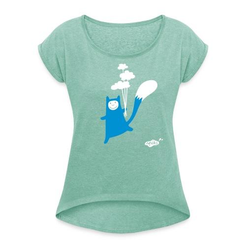Katzling Kuno - Frauen T-Shirt mit gerollten Ärmeln