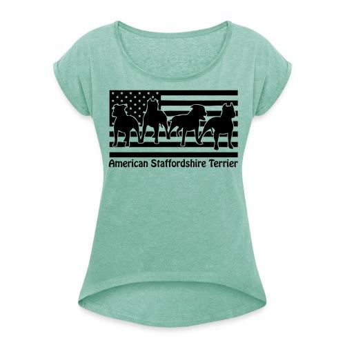 www.dog-power.nl - Vrouwen T-shirt met opgerolde mouwen