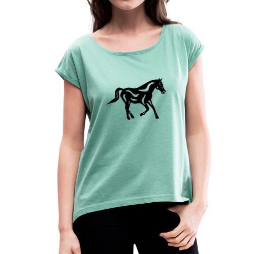 Abstraktes Pferd Heinrich - Frauen T-Shirt mit gerollten Ärmeln