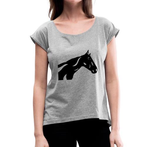 Abstraktes Pferd Crimson - Frauen T-Shirt mit gerollten Ärmeln