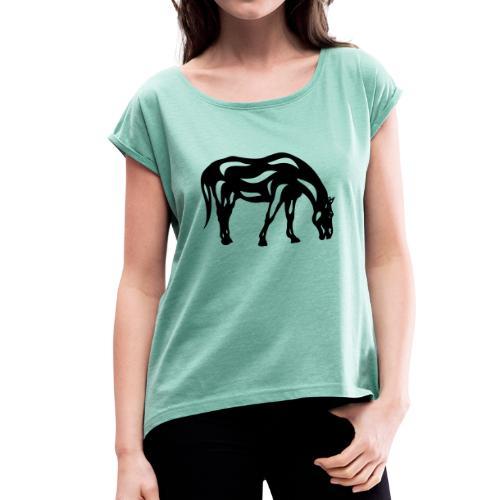 Abstraktes Pferd Hazel - Frauen T-Shirt mit gerollten Ärmeln