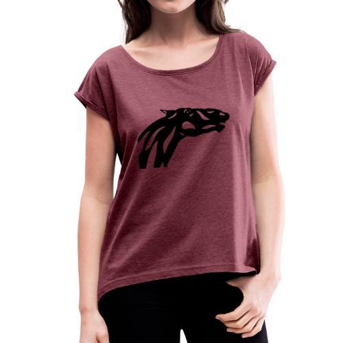 Abstraktes Pferd Fred - Frauen T-Shirt mit gerollten Ärmeln
