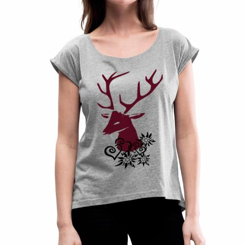 HIRSCH - Frauen T-Shirt mit gerollten Ärmeln