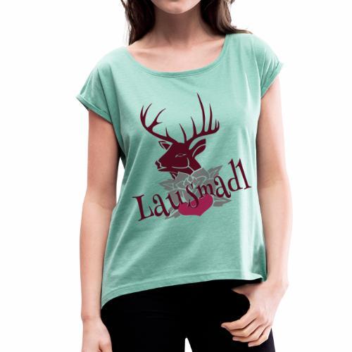 LAUSMADL ROCK - Frauen T-Shirt mit gerollten Ärmeln