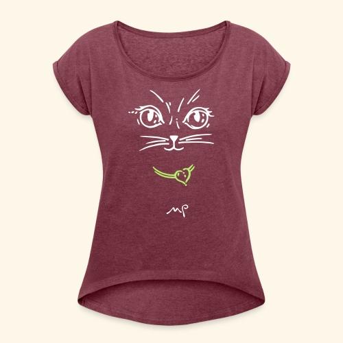 Katzendame - Frauen T-Shirt mit gerollten Ärmeln