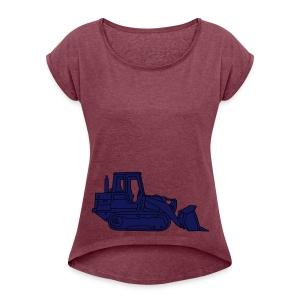 Bulldozer Planierraube 2 - Frauen T-Shirt mit gerollten Ärmeln