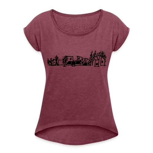 Original Logo schwarz - Frauen T-Shirt mit gerollten Ärmeln